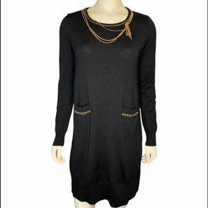 Ports International gold chain black sweater dress